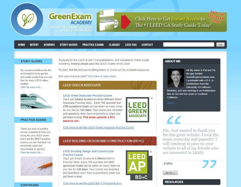 Trang web đầu tiên của Pat Flynn: Green Exam Academy