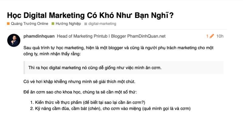 Phạm Đình Quân quảng bá content trên forum UAN