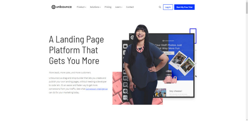 Ví dụ about page của Unbounce