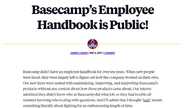 Sổ tay nhân viên của basecamp