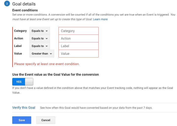 Google analytics event bước 3