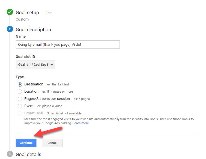 Loại Goal Google Analytics