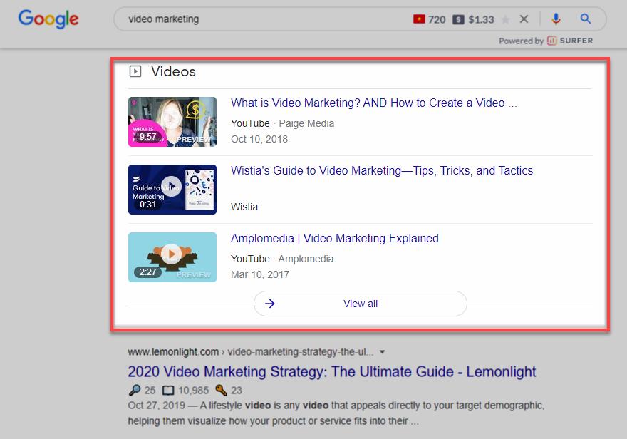 hiển thị từ khóa video marketing trên Google