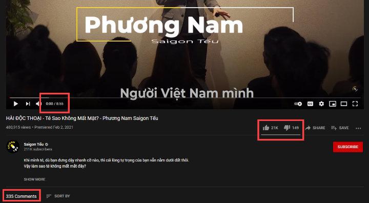 Video Youtube của Sài Gòn Tếu