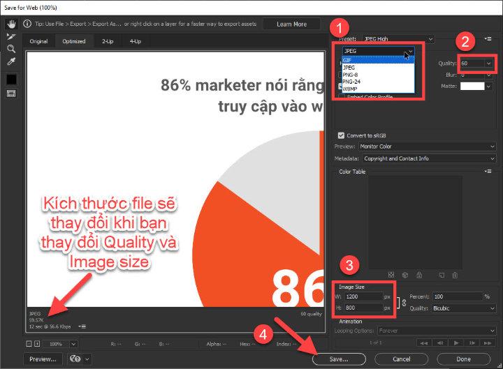 Điều chỉnh thông số Save for web Photoshop