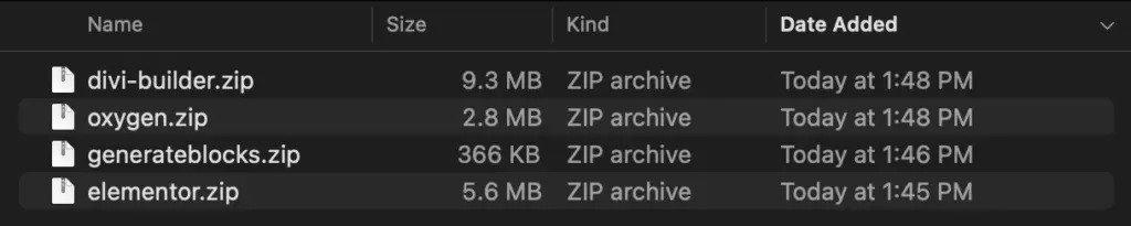 Kích thước file của GenerateBlocks với Divi, Oxygen và Elementor
