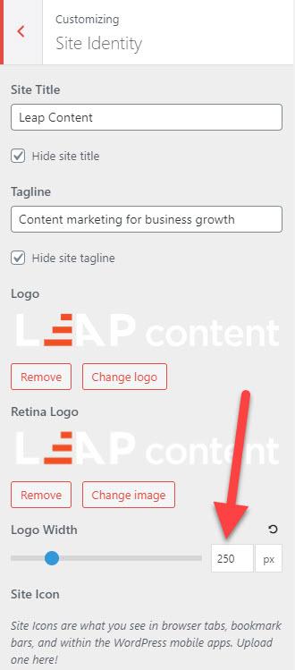 nhập kích thước logo svg trên theme GeneratePress