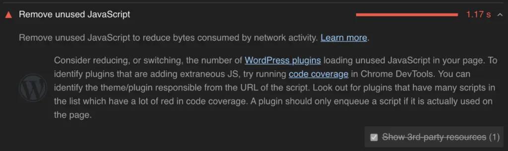 Thông báo xóa Javascript không dùng của Google Pagespeed