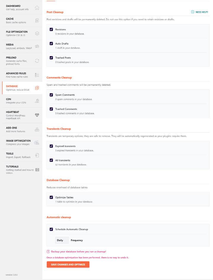 Thiết lập thông số WP Rocket Database
