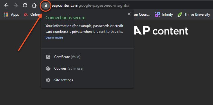 Xem chứng chỉ SSL trên website