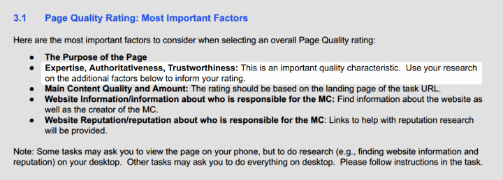 page quality rating: most important factors
