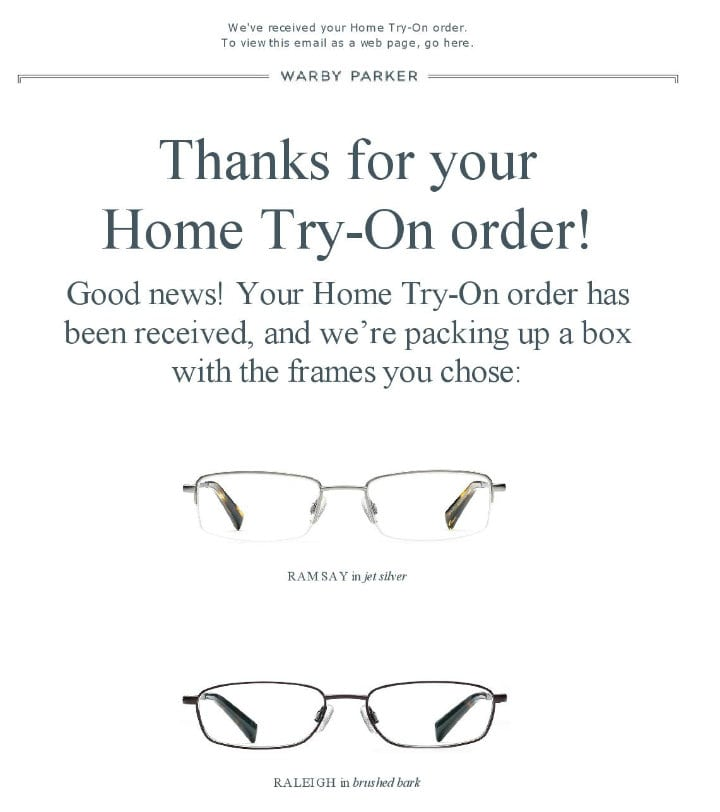 warby parker thank you page