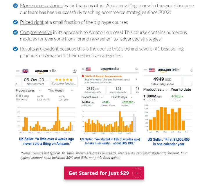 trang bán hàng của Proven Amazon Course