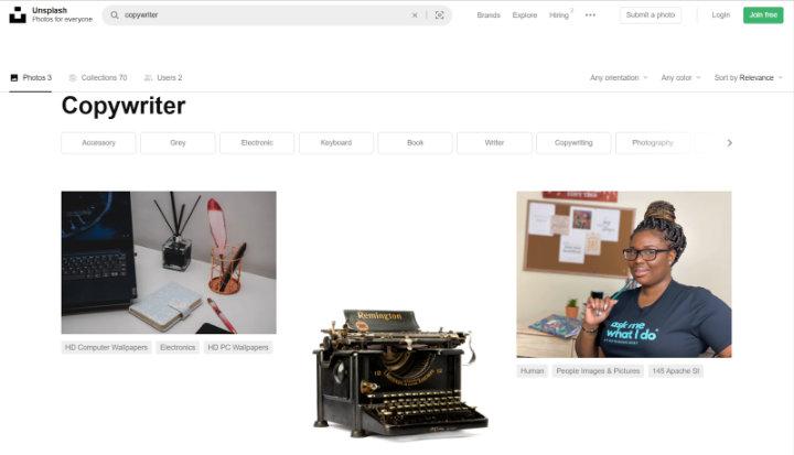 kết quả tìm kiếm copywriter trên unsplash