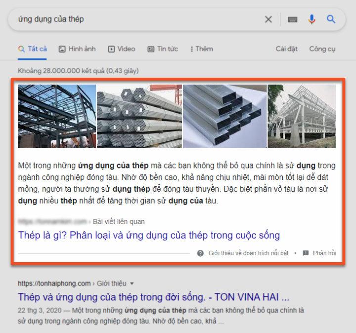 Ví dụ featured snippet của Tôn Nam Kim dạng đoạn văn