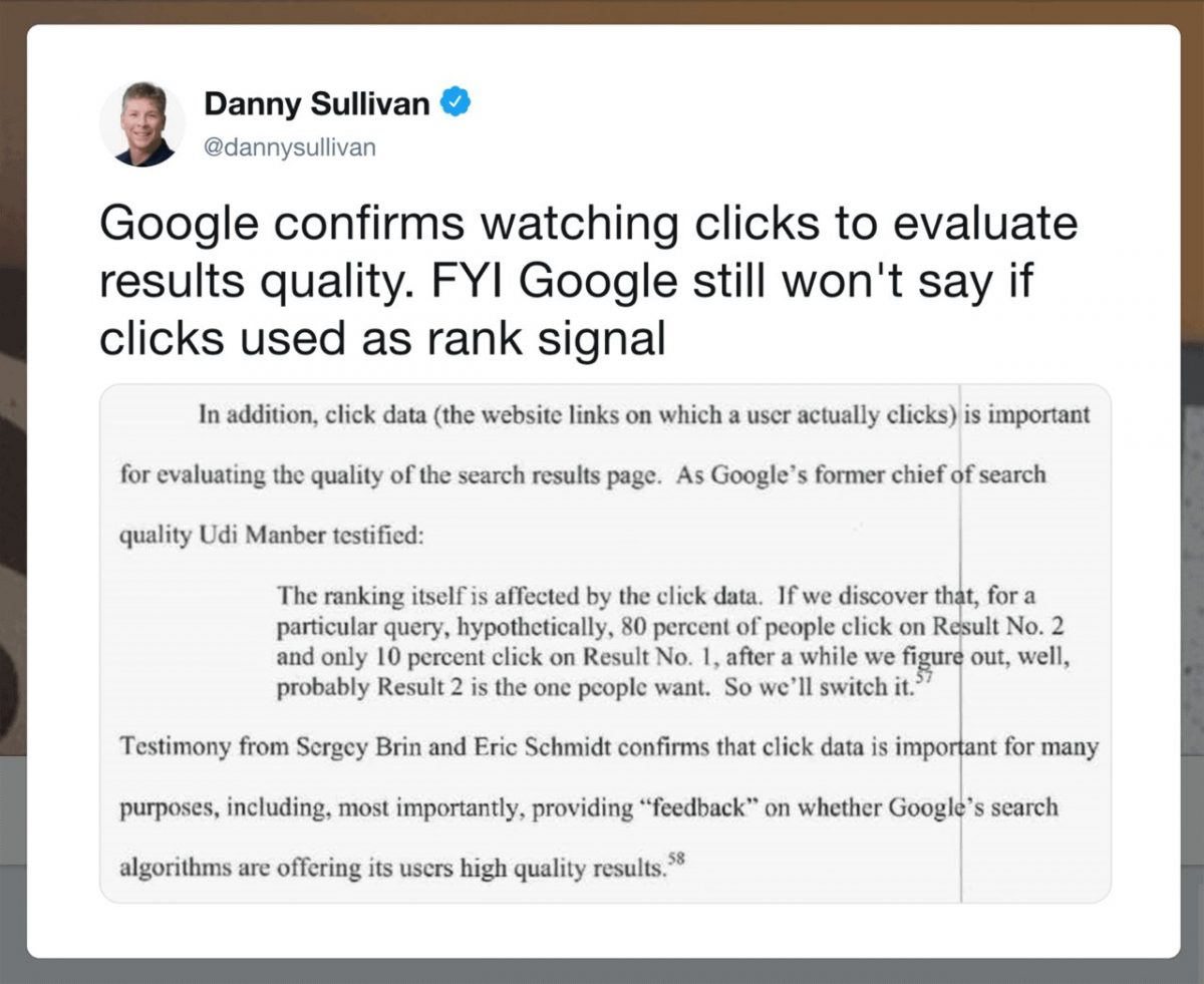 Google xác nhận CTR là yếu tố xếp hạng